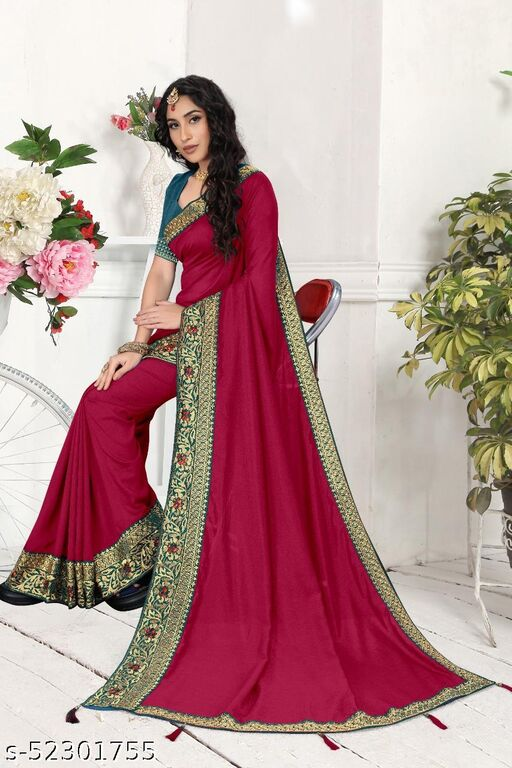 STYLISH EMBROIERED SILK SAREE WITH EMBROIDERY BLOUSE