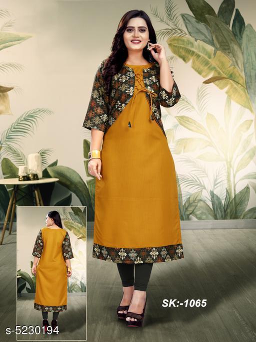 Women Cotton Jacket Kurta Printed Mustard Kurti