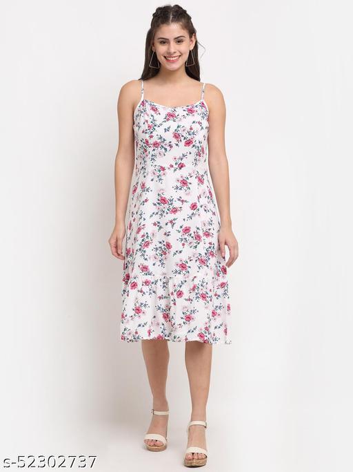 BRINNS Women's White Solid Color Flower Print midi dress