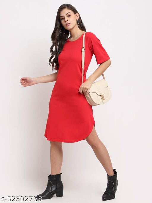 BRINNS Women's Red Solid color A-line dress