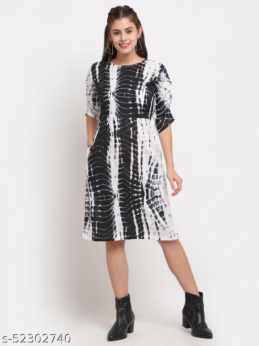 BRINNS Women's Black tie and dye solid color print midi dress