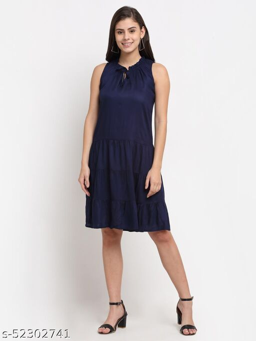 BRINNS Women's Navy Blue solid Color woven fit and flare tiered dress