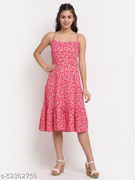 BRINNS Women's Pink Solid Color Leaf Print midi dress