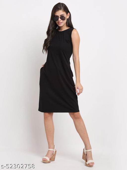 BRINNS Women's Black Solid color A-line dress