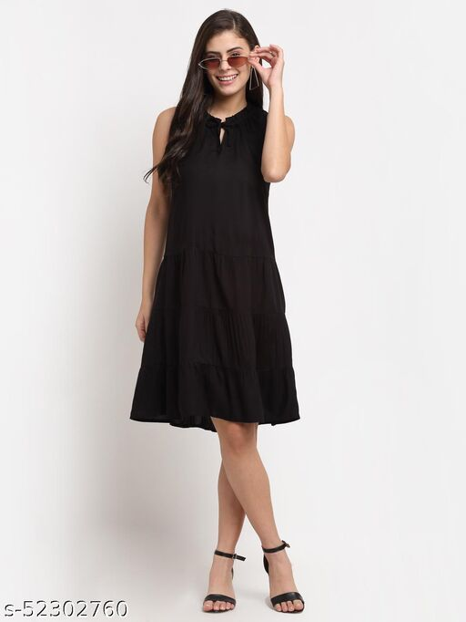BRINNS Women's Black solid Color woven fit and flare tiered dress