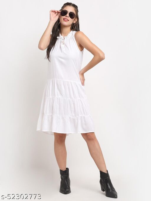 BRINNS Women's White solid Color woven fit and flare tiered dress