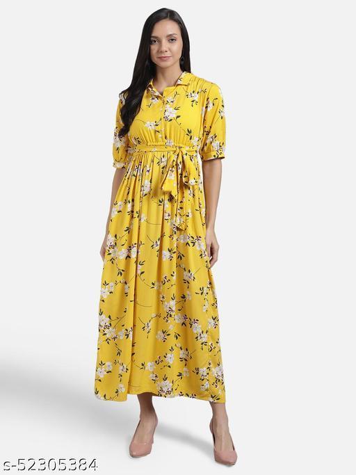 The Dry State Women Yellow Coloured Empire Waist Dress