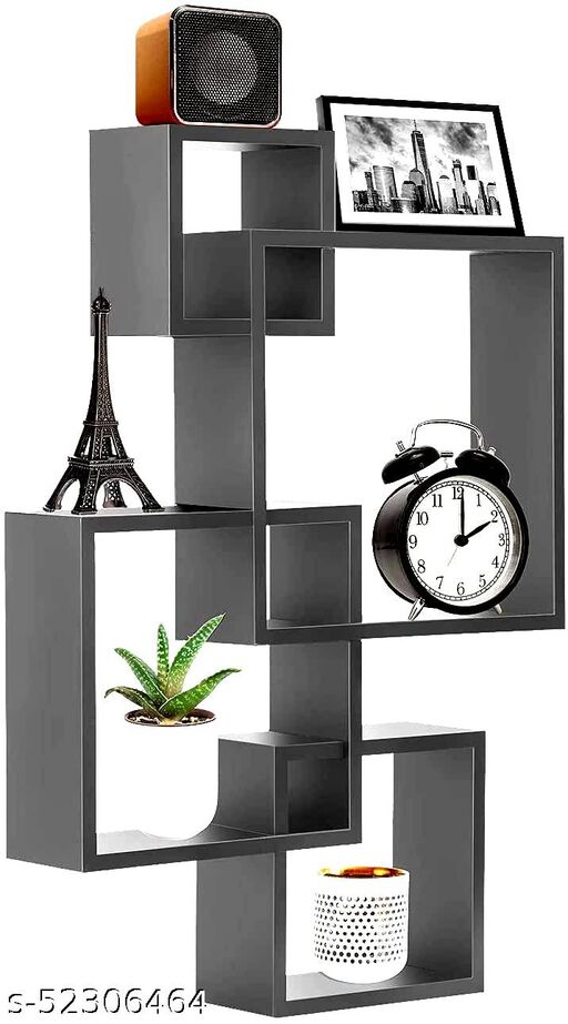 Dream Shop Wooden Intersecting Wall Shelf Home Decor Items Rack Floating Book Shelves for Living Room, Bedroom, Kitchen, Office and More (Set of 4, Color-Grey)