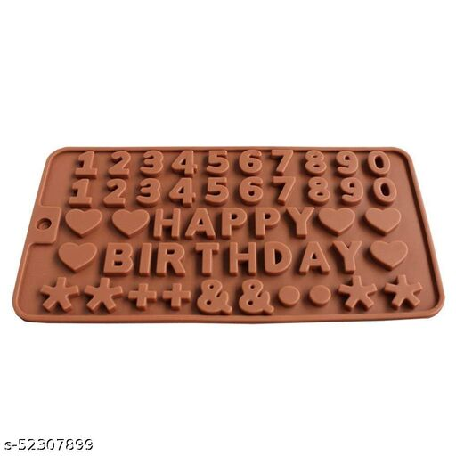 ScentRose Silicone Happy Birthday (Pack of 2) Alphabets & Numbers Shape Chocolate Jelly Candy Mold, Cake Baking Mold, Bakeware Mould, Food Grade, Choco Brown
