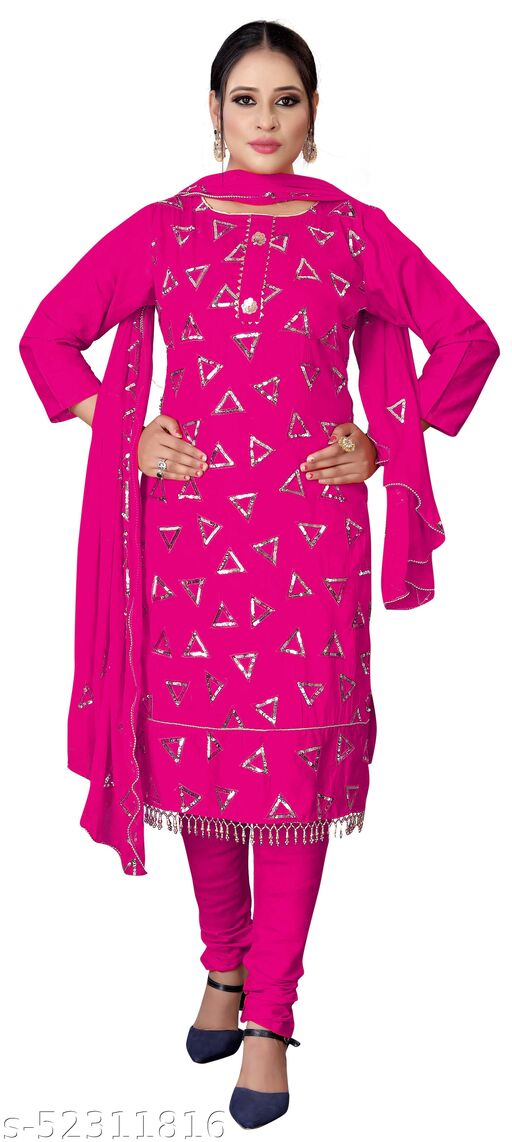 Sitara fashion Cotton Embroidered Salwar Suit Material  (Unstitched)