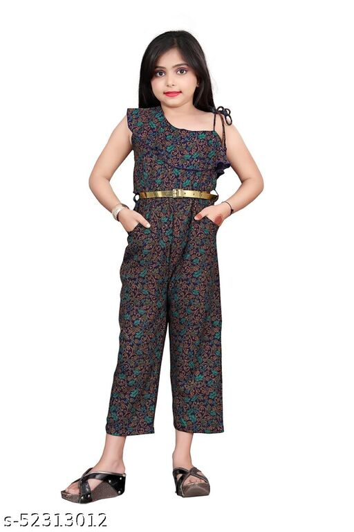 Fashion Era Girl's Special Pure Alphine Viscos Jumpsuit With One-Shoulder Pattern With Separate Belt.