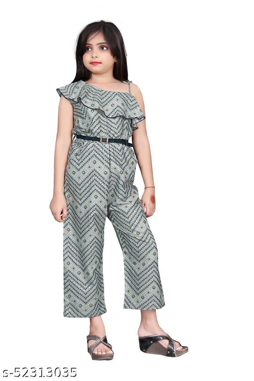 Fashion Era Girl's Special Pure Capsule Silk Bandhni Print Jumpsuit With Foil Print With Separate Belt.