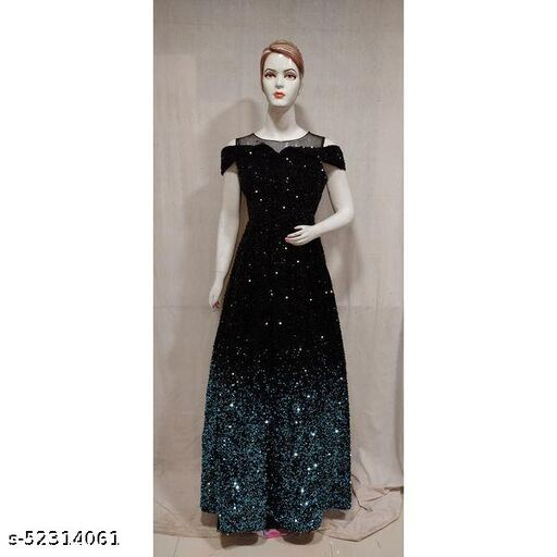Women Blue Black Sequence Work Indo Western Gown