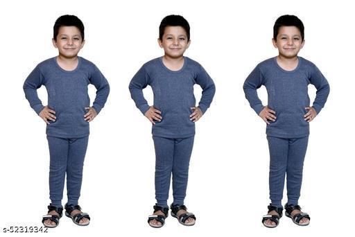 BODYSENSE White , Light Grey & Black Thermal Top & Pyjama Set for Boys  Pack of 3 Sets )
