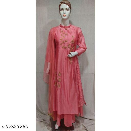 Women Pink Embroidered Double Layer Silk Kurti Set