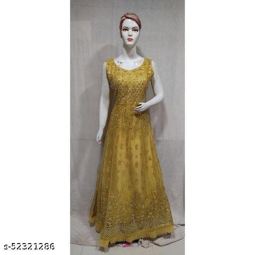 Women Pink Black Sequence Work Indo Western Gown