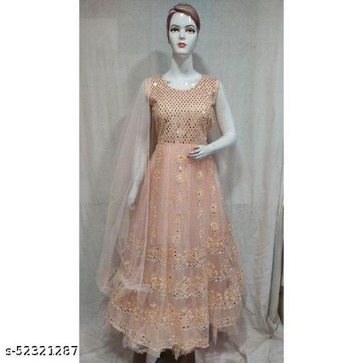 Women Peach Mirror Work Net Gown