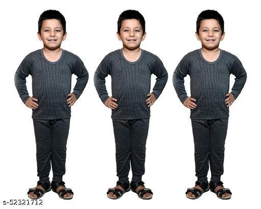 BODYSENSE Black Thermal Top & Pyjama Set for Boys & Girls ( Pack of 3 Sets )