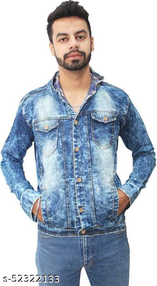 Full Sleeve Printed, Washed Men Denim Jacket
