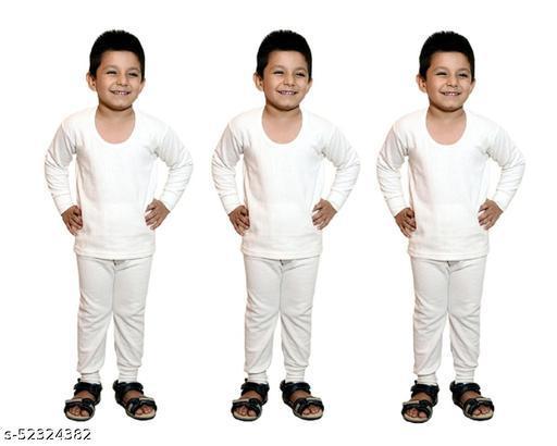 BODYSENSE White Thermal Top & Pyjama Set for Boys & Girls ( Pack of 3 Sets )