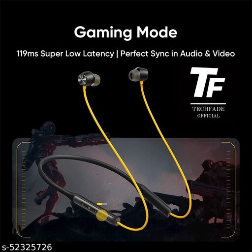TECHFADE Buds Wireless Pro with Active Noise Cancellation (ANC) in-Ear Bluetooth Headphones with Mic (Yellow)