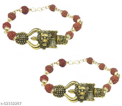 Adhvik (Set Of 2 Pcs) Unisex Adjustable Rudraksha Brown Beads Mala Chain Animal King Roaring Lion Head Om Mahadev Bolenath Mahakaal Lord Shiva Trishul With Damroo Wrist Band Cuff Bracelets