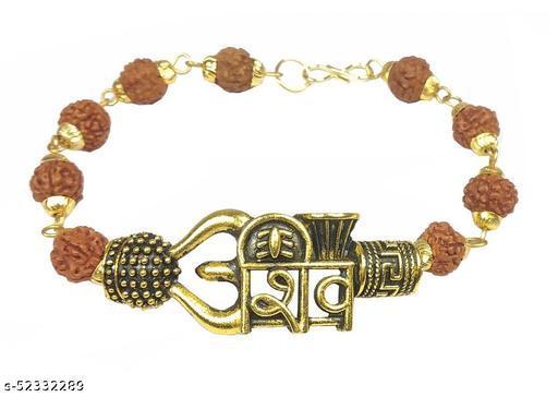Adhvik Stylish Trending Adjustable Brown Beads Rudraksha Mala Chain Om Mahadev Bolenath Mahakaal Lord Shiva Trishul With Damroo Wrist Band Cuff Bracelets For Men & Women Jewellery Set