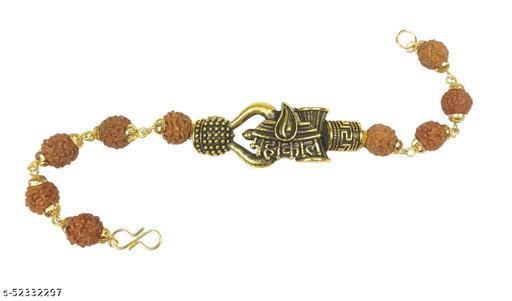 Adhvik Adjustable Stylish Trending Brown Beads Rudraksha Mala Chain Om Mahadev Bolenath Mahakaal Lord Shiva Trishul With Damroo Wrist Band Cuff Bracelets For Men & Women Jewellery Set