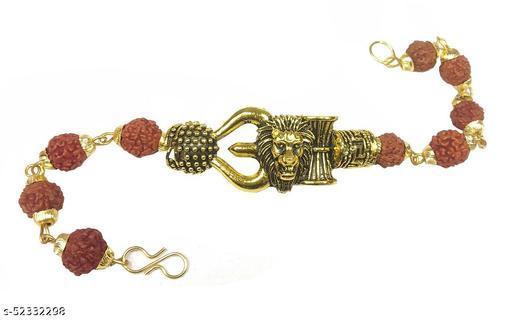 Adhvik Adjustable Brown Beads Rudraksha Mala Chain Animal King Roaring Lion Head Om Mahadev Bolenath Mahakaal Lord Shiva Trishul With Damroo Wrist Band Cuff Bracelets For Men & Women