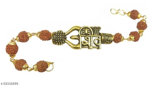 Adhvik Stylish Adjustable Trending Brown Beads Rudraksha Mala Chain Om Mahadev Bolenath Mahakaal Lord Shiva Trishul With Damroo Wrist Band Cuff Bracelets For Men & Women Jewellery Set