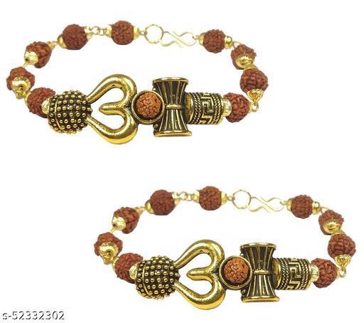 Adhvik (Set Of 2 Pcs) Stylish Trending Adjustable Brown Beads Rudraksha Mala Chain Om Mahadev Mahakaal Bolenath Lord Shiva Trishul with Damroo Wrist Band Cuff Bracelets for Men & Women