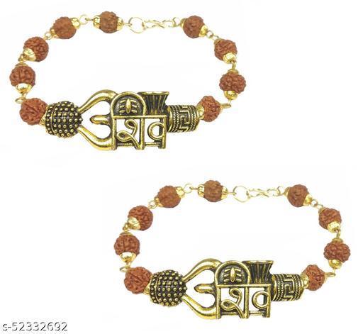 Stylewell (Set Of 2 Pcs) Stylish Adjustable Trending Brown Beads Rudraksha Mala Chain Om Bolenath Mahadev Mahakaal Lord Shiva Trishul With Damroo Wrist Band Cuff Bracelets For Men & Women