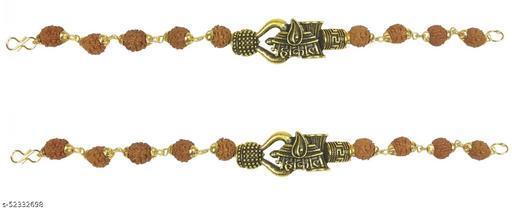 Stylewell (Set Of 2 Pcs) Adjustable Trending Brown Beads Rudraksha Mala Chain Om Mahadev Bolenath Mahakaal Lord Shiva Trishul With Damroo Wrist Band Cuff Bracelets For Men & Women