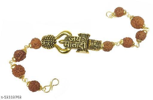 Stylewell Adjustable Stylish Trending Brown Beads Jai Mata Di Rudraksha Mala Chain Om Mahadev Bolenath Mahakaal Lord Shiva Trishul With Damroo Wrist Band Cuff Bracelets For Men & Women