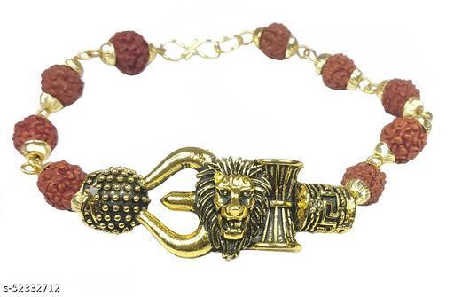 Stylewell Unisex Stylish Adjustable Brown Beads Rudraksha Mala Chain Animal King Roaring Lion Head Om Mahadev Bolenath Mahakaal Lord Shiva Trishul With Damroo Wrist Band Cuff Bracelets