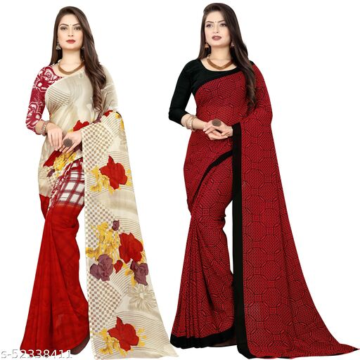 Set of 2, Trendy,Printed Georgette Sarees with Blouse Piece