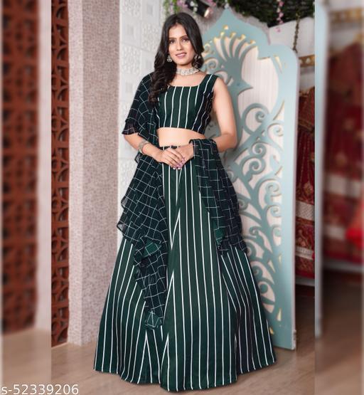 Women's Dark Green Georgette Semi-Stitched Lehenga Choli