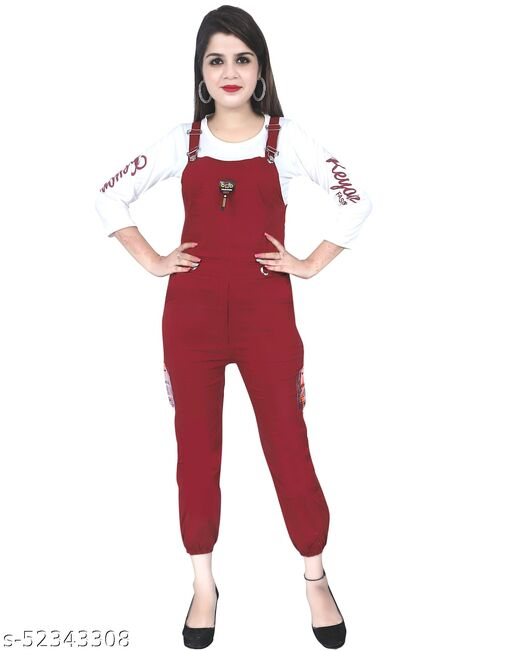 Trendy Fashionable  Women Cotton Maroon Dungaree jumpsuit For Party ,Collage and Causal Wear