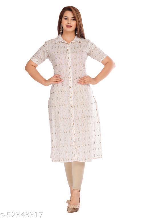GULMODEL Off white half sleeve kurti Premium quality work