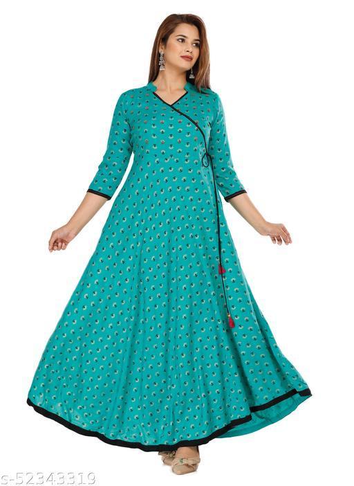 GULMODEL Adda work lace designer premium rayon rama greeen kurti (SANGANERI HAND WORK)