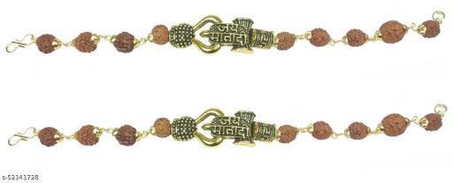 Utkarsh (Set Of 2 Pcs) Stylish Adjustable Brown Beads Jai Mata Di Rudraksha Mala Chain Om Mahadev Bolenath Mahakaal Lord Shiva Trishul With Damroo Wrist Band Cuff Bracelets For Men & Women