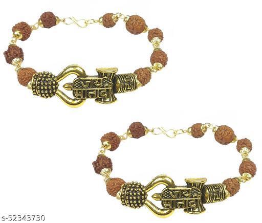 Utkarsh (Set Of 2 Pcs) Stylish Adjustable Jai Mata Di Rudraksha Brown Beads Mala Chain Om Mahadev Mahakaal Bolenath Lord Shiva Trishul With Damroo Wrist Band Cuff Bracelets For Men & Women