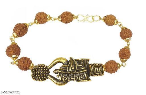 Utkarsh Adjustable Trending Brown Beads Rudraksha Mala Chain Om Mahadev Bolenath Mahakaal Lord Shiva Trishul With Damroo Wrist Band Cuff Bracelets For Men & Women Jewellery Set