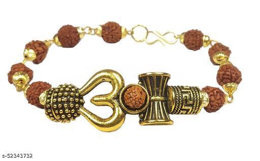 Utkarsh Stylish Adjustable Trending Brown Beads Rudraksha Mala Chain Om Mahadev Mahakaal Bolenath Lord Shiva Trishul with Damroo Wrist Band Cuff Bracelets for Men & Women Jewellery Set