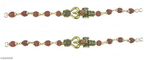 Utkarsh (Set Of 2 Pcs) Stylish Adjustable Trending Brown Beads Rudraksha Mala Chain Om Mahadev Mahakaal Bolenath Lord Shiva Trishul with Damroo Wrist Band Cuff Bracelets for Men & Women
