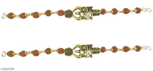 Utkarsh (Set Of 2 Pcs) Stylish Trending Adjustable Brown Beads Rudraksha Mala Chain Om Mahadev Bolenath Mahakaal Lord Shiva Trishul With Damroo Wrist Band Cuff Bracelets For Men & Women