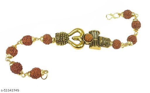 Utkarsh Adjustable Stylish Trending Brown Beads Rudraksha Mala Chain Om Mahadev Mahakaal Bolenath Lord Shiva Trishul with Damroo Wrist Band Cuff Bracelets for Men & Women Jewellery Set