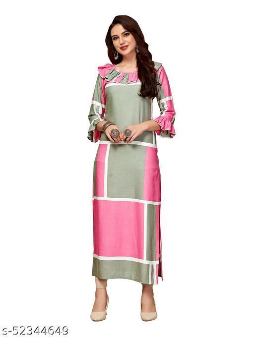 Women's Rayon Printed Straight Kurti