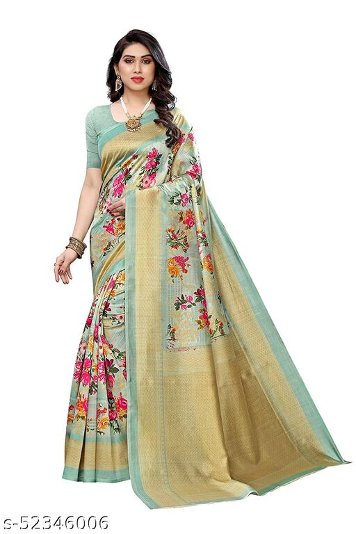 Poshyaa Fashion Women Art Silk Saree with Blouse Piece