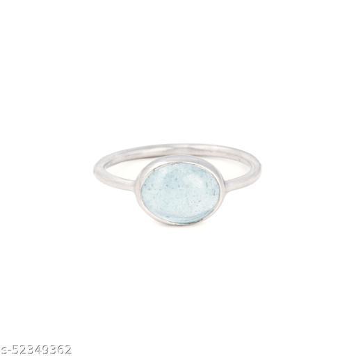 Ratnavali Arts Natural Aquamarine Gemstone Ring  in 92.5 Sterling Silver for women